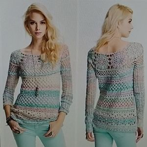Free People xs pastel ring of roses crochet sweate